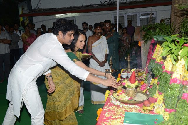 Nagarjuna and Amala performing the rituals at the launch of Akhil's second film