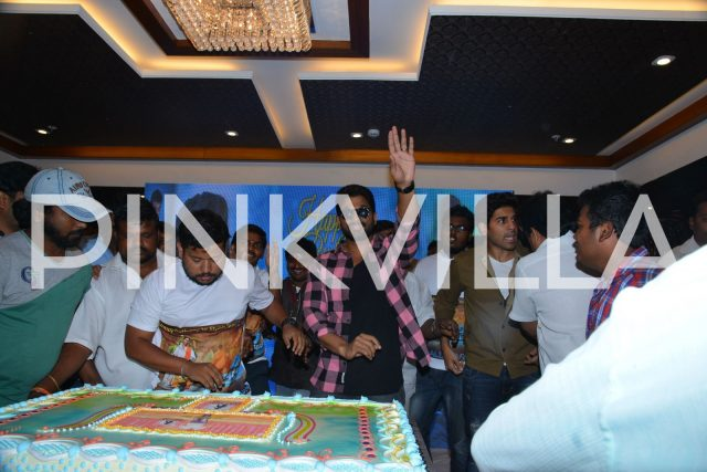 Allu Arjun greeting his fans at the event