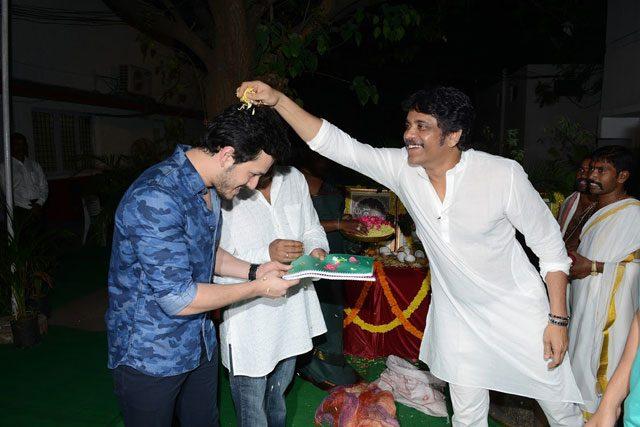 Akkineni Nagarjuna blessing his son Akhil