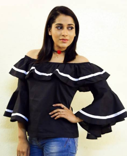 Rashmi in the monochrome outfit
