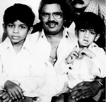 A young Allu Arjun with Dasari Narayan Rao