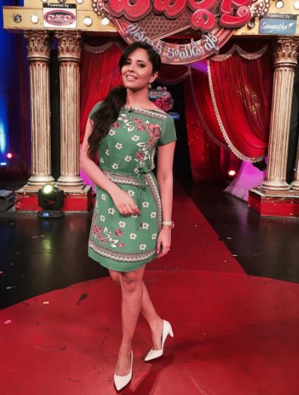 Anasuya in the pastel green dress