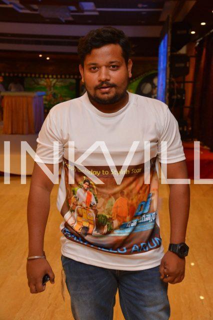 A fan wearing with Allu Arjun's upcoming film DJ poster