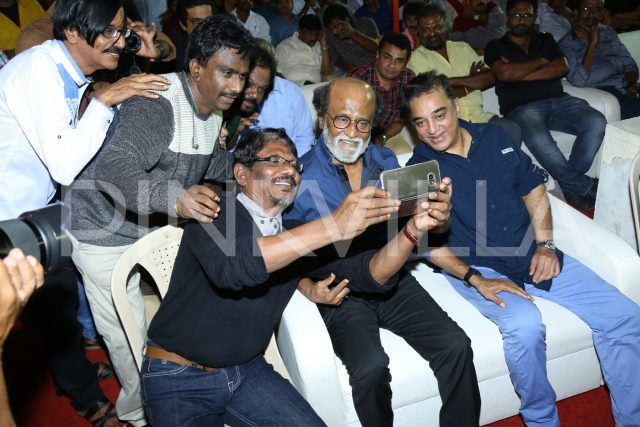 Kamal Haasan, Rajinikanth, Bharathiraja and guests click a selfie