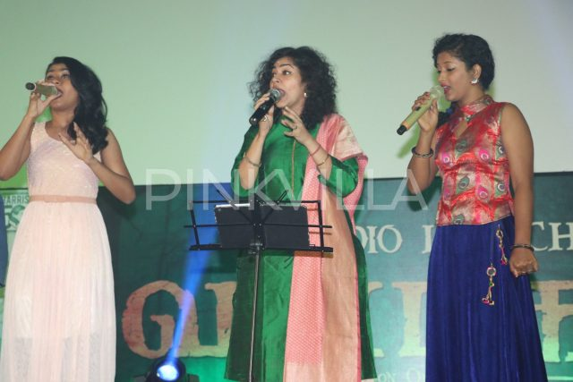 Singers performing on the state during the audio launch