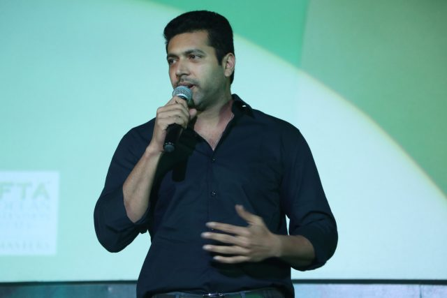 Jayam Ravi speaking at the audio launch of Vanamagan