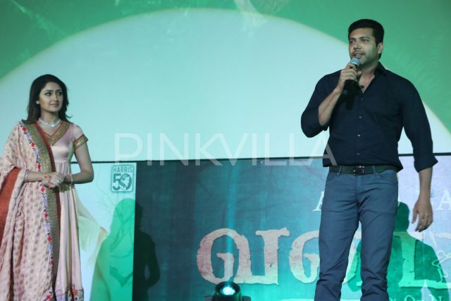Jayam Ravi speaking at the event