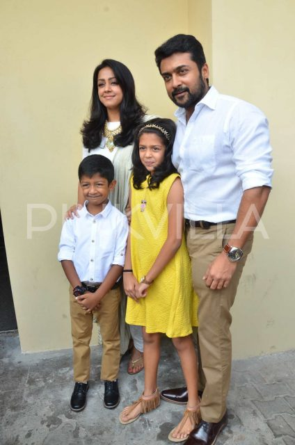 Suriya and Jyothika with their kids