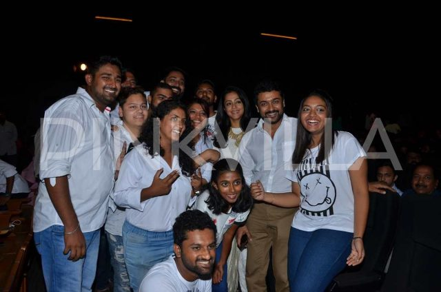 Suriya and Jyothika with their fans