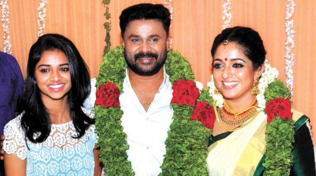 Dileep with his daughter Meenakshi and second wife Kavya Madhavan