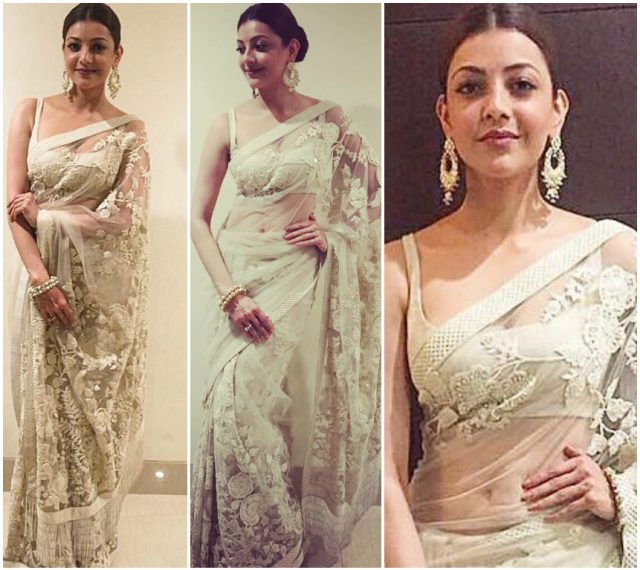 Kajal Aggarwal in an ivory saree
