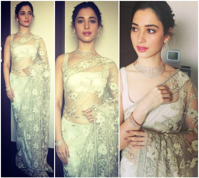 Tamannah Bhatia in an ivory saree