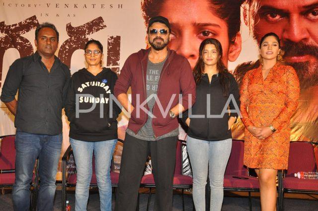 Director Sudha K, Venkatesh and Ritika Singh