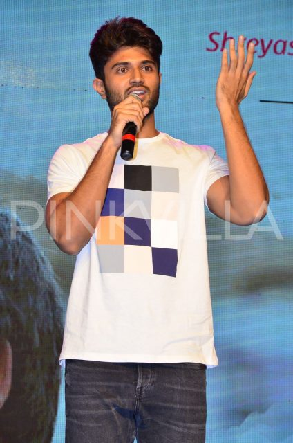 Vijay Deverakonda speaking at the event