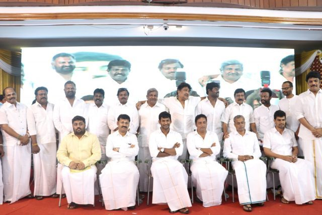 Vishal and Prakash Raj with members of the council