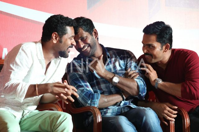 Prabhu Deva, Vishal and Karthi sharing a fun moment