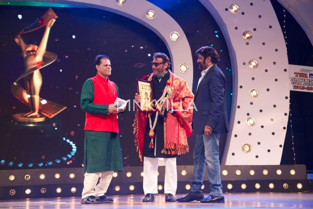 T Subbirami Reddy and Balakrishna present the award to Jackie Shroff