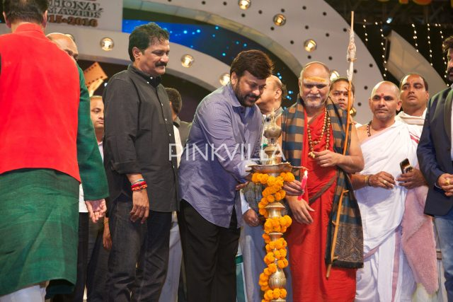 Chirnajeevi lighting the lamp at the event