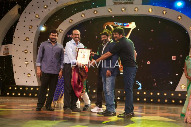 D Suresh Babu being felicitated