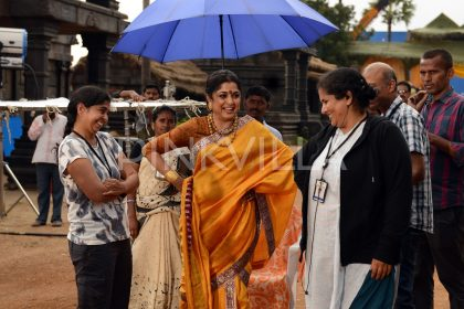 Ramya Krishna all smile during the shooting of Baahubali