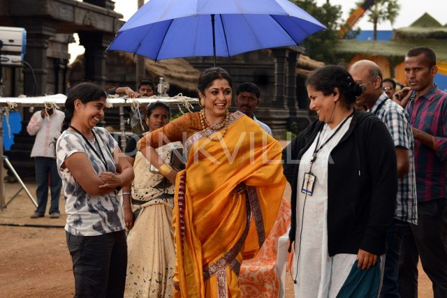 Ramya Krishna all smiles during the shooting of Baahubali