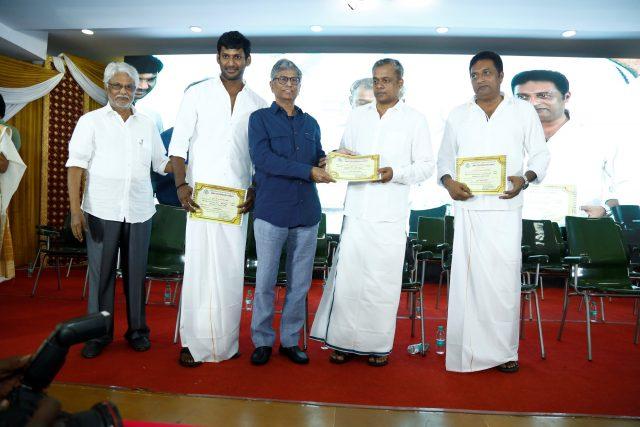Vishal, Gautham Menon and Prakash Raj at the meet