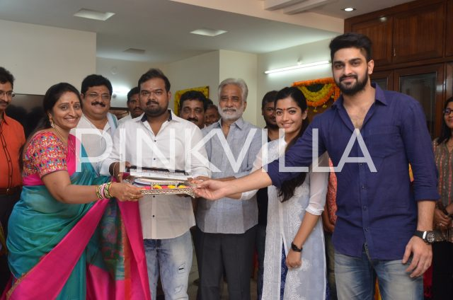 Naga Shaurya, Rashmika Mandanna with the crew of the film