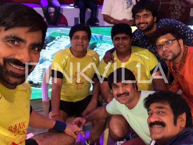 Ravi Teja, Ali, Srinivas Reddy, Raghu Babu and Director Anil Ravipudi on the sets