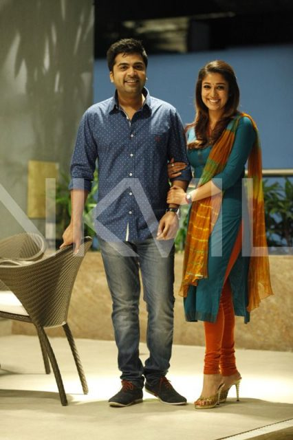 Simbu and Nayanthara from one of the scenes in Sarasudu