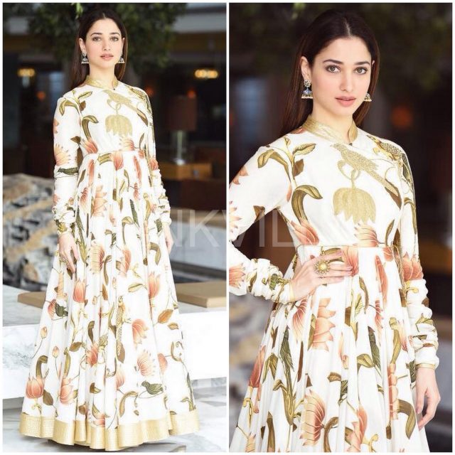 Tamannaah Bhatia in a floral Anarkali by Rohit Bal
