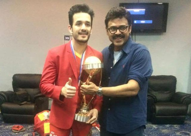 Akhil with uncle Venkatesh