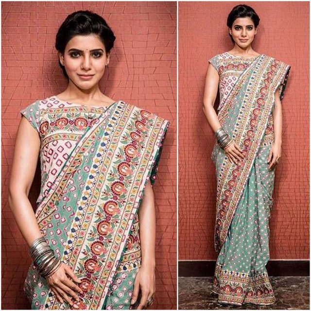 Samantha in the printed saree by Vrisa