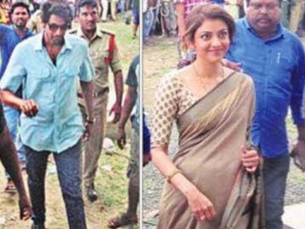 Kajal Aggarwal spotted with baby bump during shooting of Nene Raju Nene Mantri