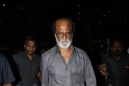 Superstar Rajinikanth looks majestic as he walks down the streets of Mumbai