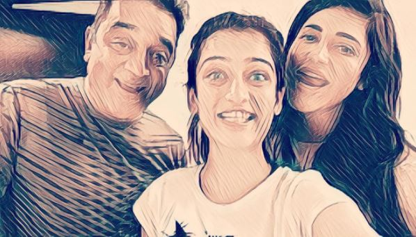 Akshara Haasan, Shruti Haasan and bapu Kamal Haasan share a great rapport and these photos are proof