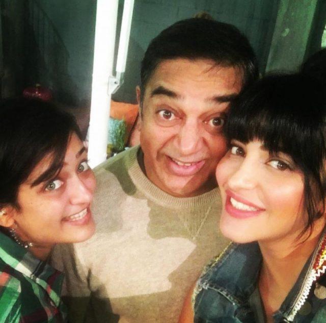 Akshara Haasan Shruti Haasan And Bapu Kamal Haasan Share A Great