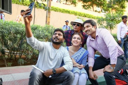 Gopichand and Hansika Motwani pose for an awesome selfie on the sets of Gautham Nanda