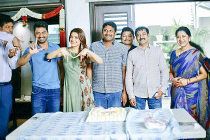 Photos: Kajal Aggarwal and Kalyan Ram celebrate director Upendra's birthday on the sets of MLA