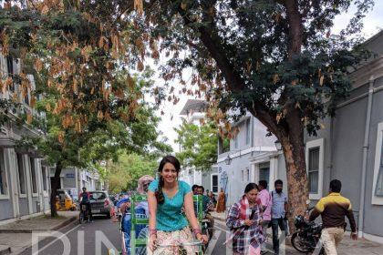 Rakul Preet Singh rides a cycle rickshaw while shooting for Dheeran Adhigaram Ondru