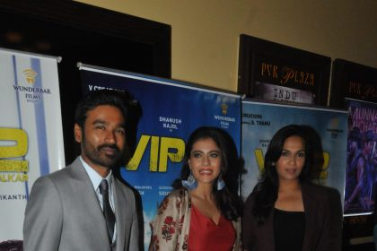 Photos: Dhanush, Kajol and Soundarya Rajinikanth make a lovely trio as they promote VIP 2