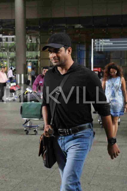 R Madhavan clicked at the Mumbai airport