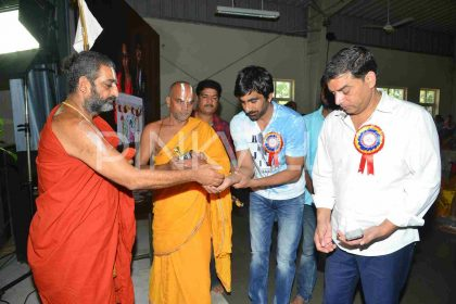 Photos: Cast and crew of Ravi Teja starrer Raja The Great visit Nethra Vidyalaya run by Chinna Jeeyar Swamy