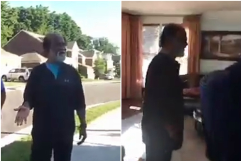 Watch: Super Star Rajinikanth pays a surprise visit to his neighbours during his recent trip to the US