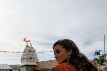 Photo: Amy Jackson looks stunning on the shoot location of her Kannada film with Kichcha Sudeep