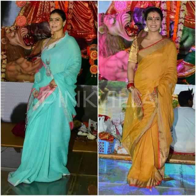 दुर्गा पूजा के लिए काजोल ने पहनी साड़ी