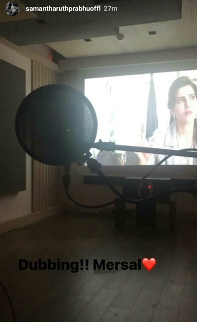 Samantha Ruth Prabhu starts dubbing for her upcoming movie MERSAL starring Vijay