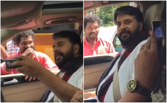 Watch: When Mammootty surprised a fan by stopping his car on the road for him