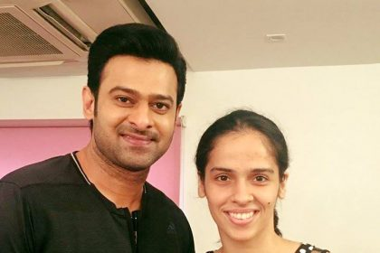 Photo: Prabhas meets Saina Nehwal on the sets of his Saaho