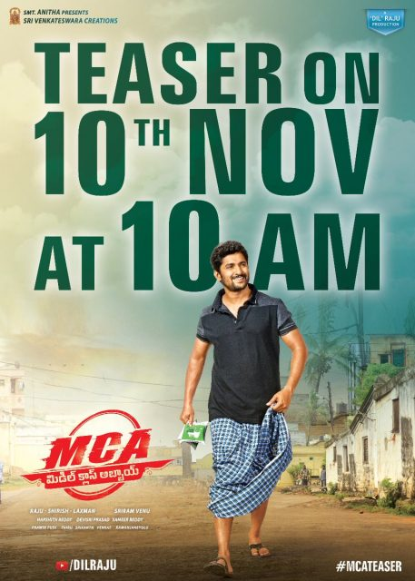 Teaser of Nani and Sai Pallavi starrer 'MCA' will be out on November 10th