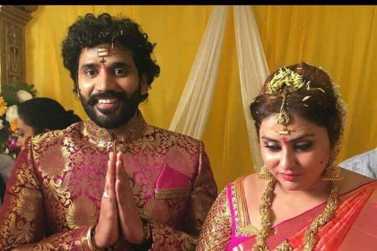 Photos: Actress Namitha ties the knot with boyfriend Veer in Tirupathi